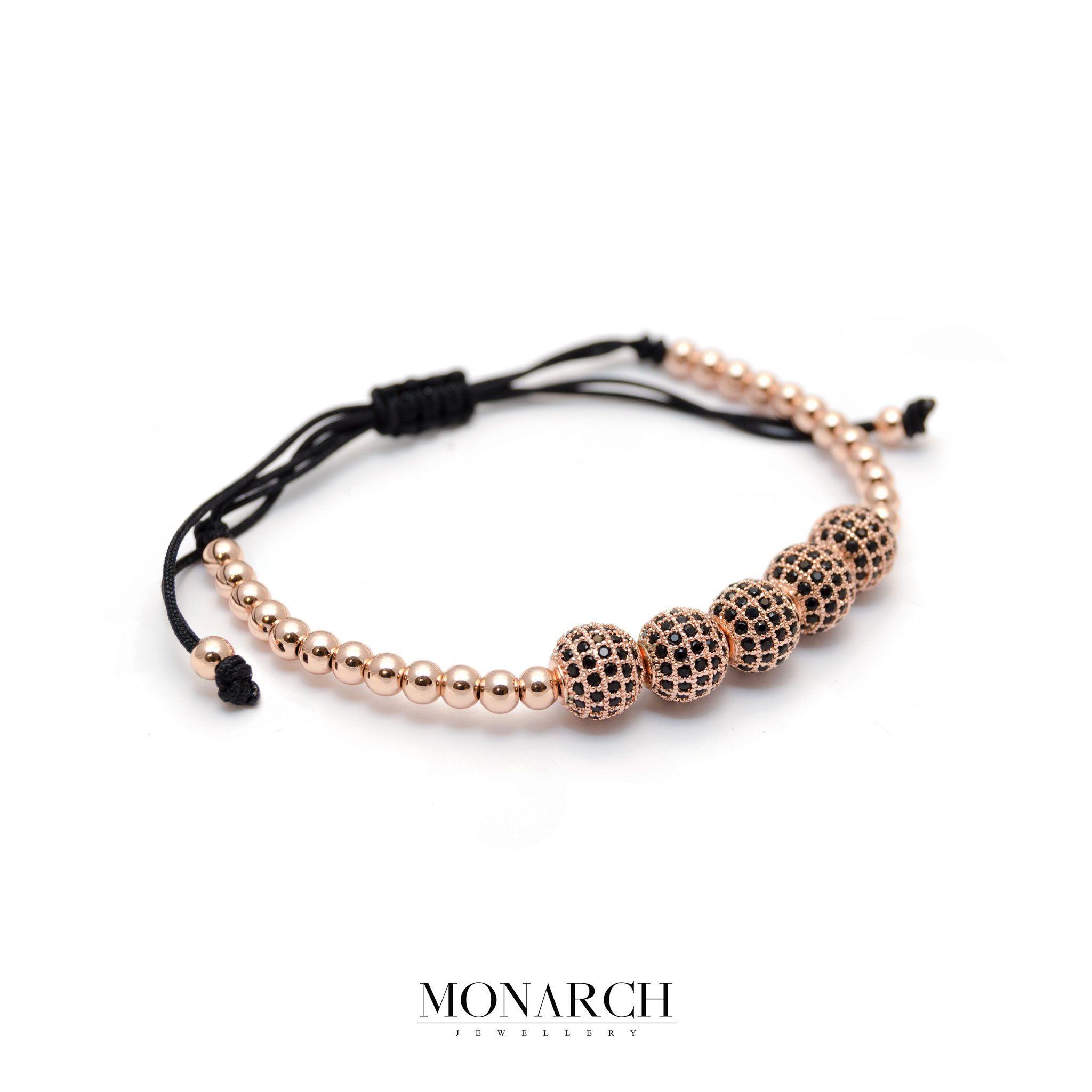 Monarch Jewellery Gold Rose Zircon Bead Macrame Bracelet