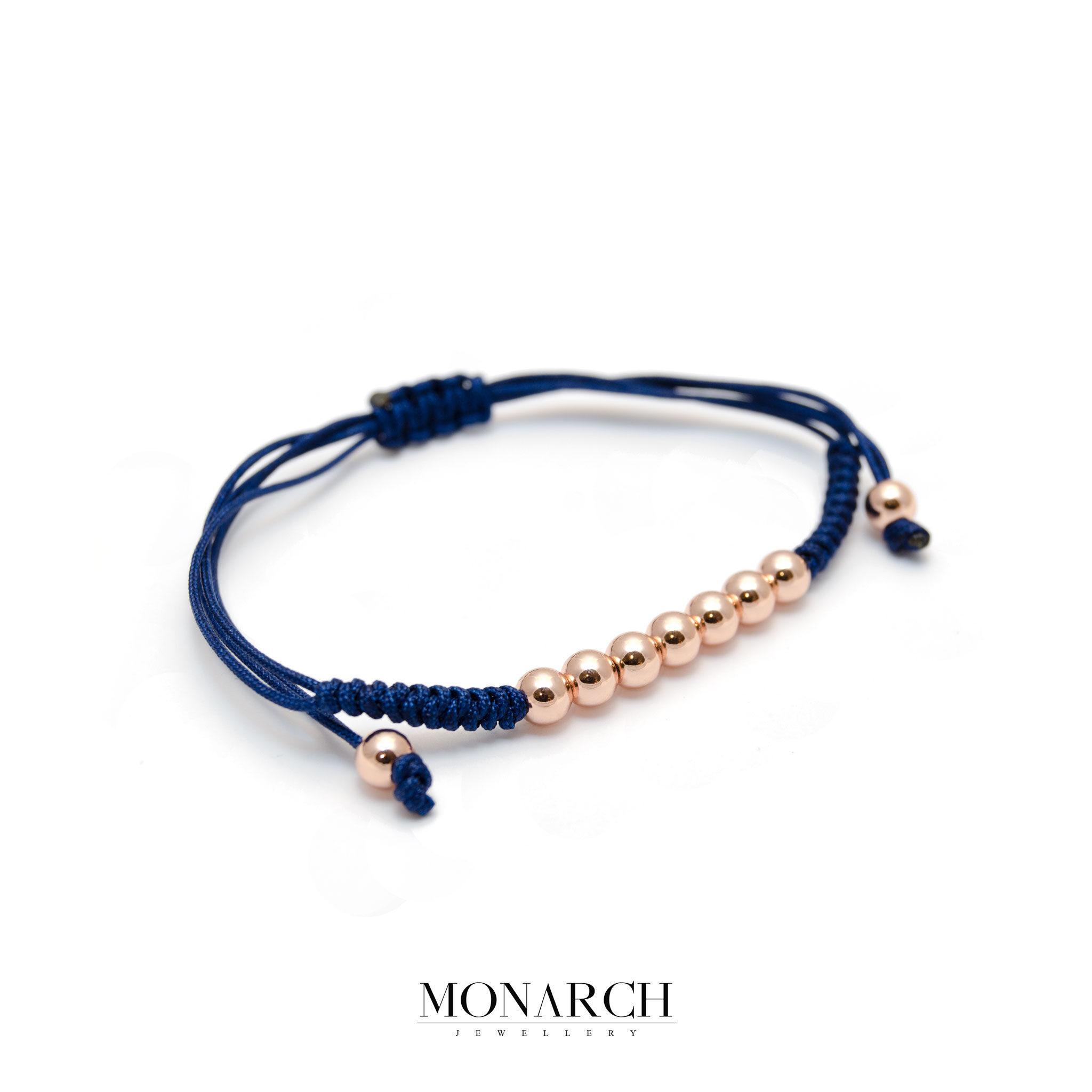 Monarch Jewellery Gold Rose Bead Azur Macrame Bracelet