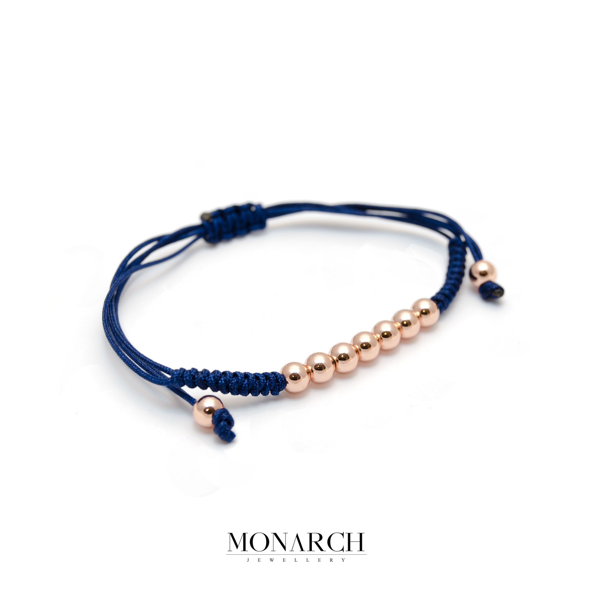 Monarch Jewellery Gold Rose Bead Azur Macrame Bracelet
