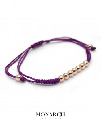 Monarch Jewellery Gold Rose Bead Magenta Macrame Bracelet