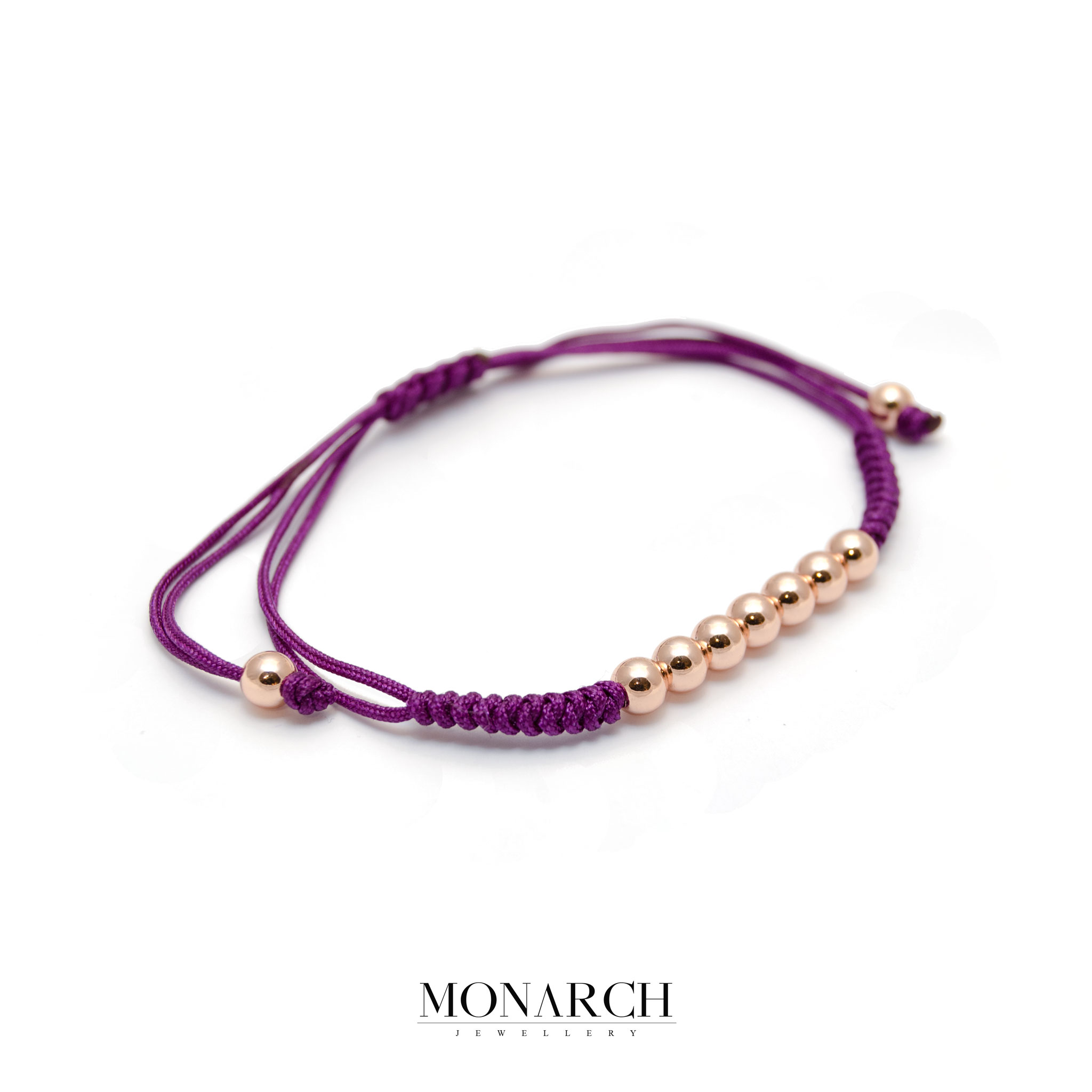 Monarch Jewellery Gold Rose Bead Magenta Macrame Bracelet