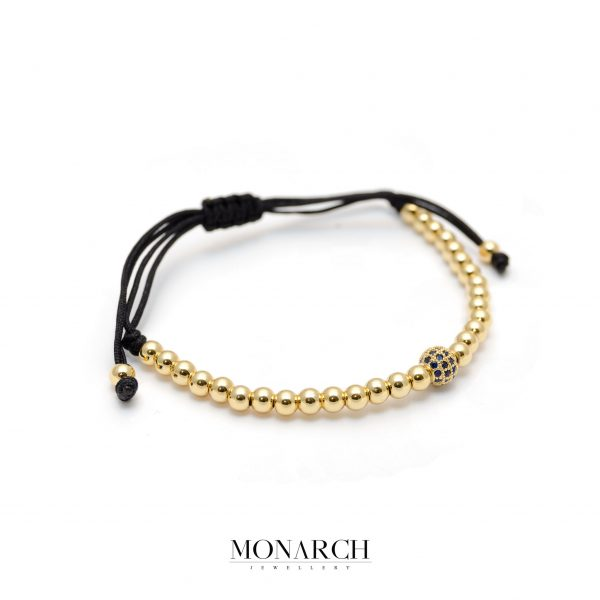 Monarch Jewellery 24k Gold Azur Solo Zircon Macrame Bracelet