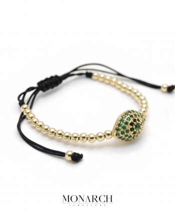 Monarch Jewellery 24k Gold Emerald Evil Eye Charm Macrame Bracelet