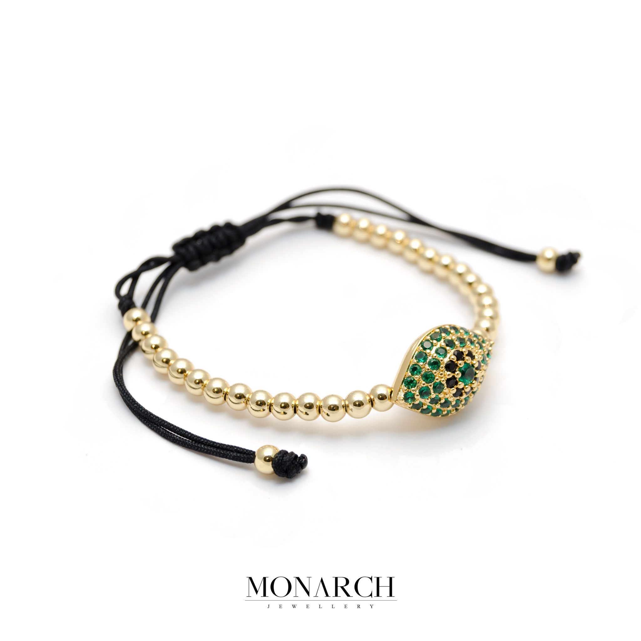 Monarch Jewellery 24k Gold Emerald Evil Eye Charm Macrame Bracelet