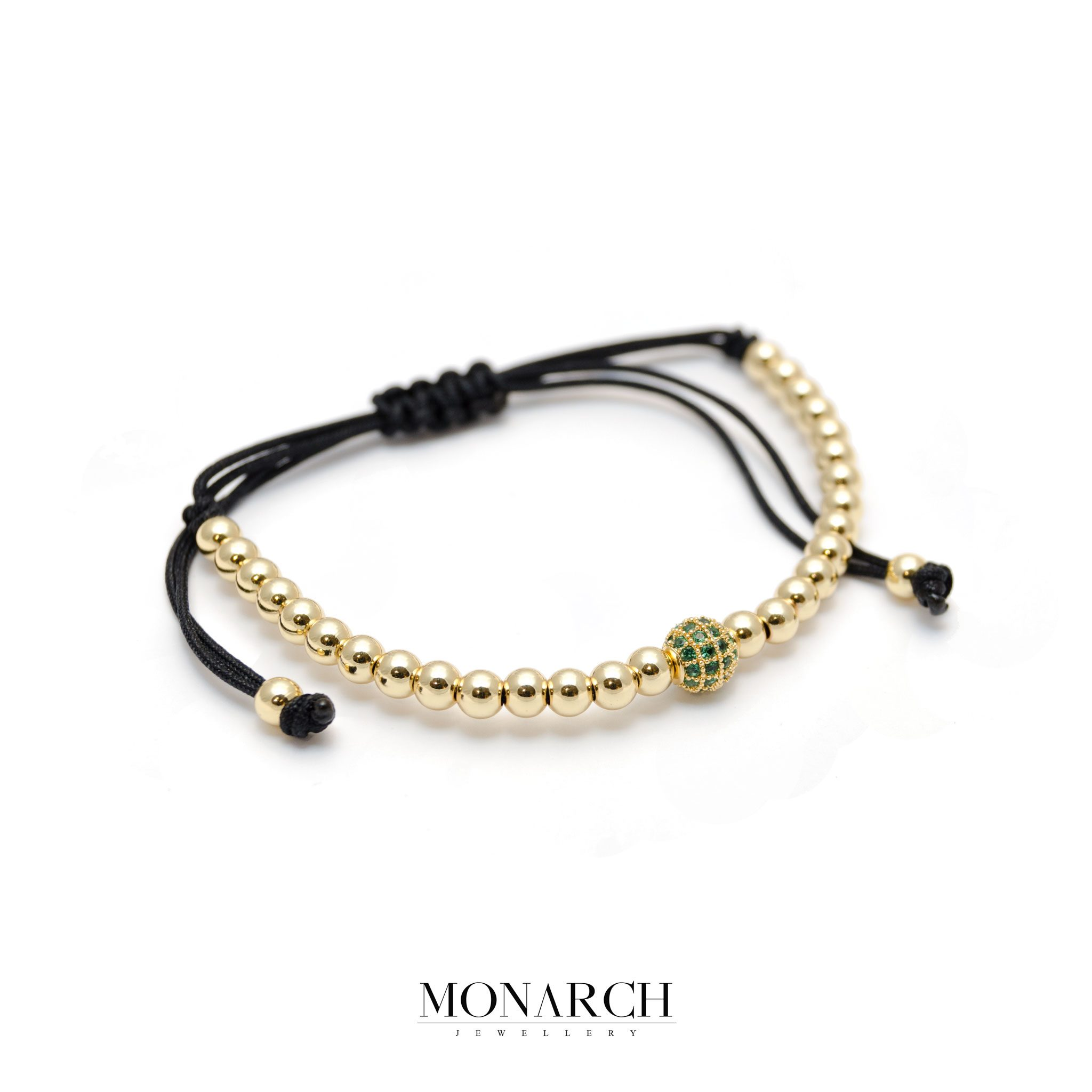 Monarch Jewellery 24k Gold Emerald Solo Zircon Macrame Bracelet