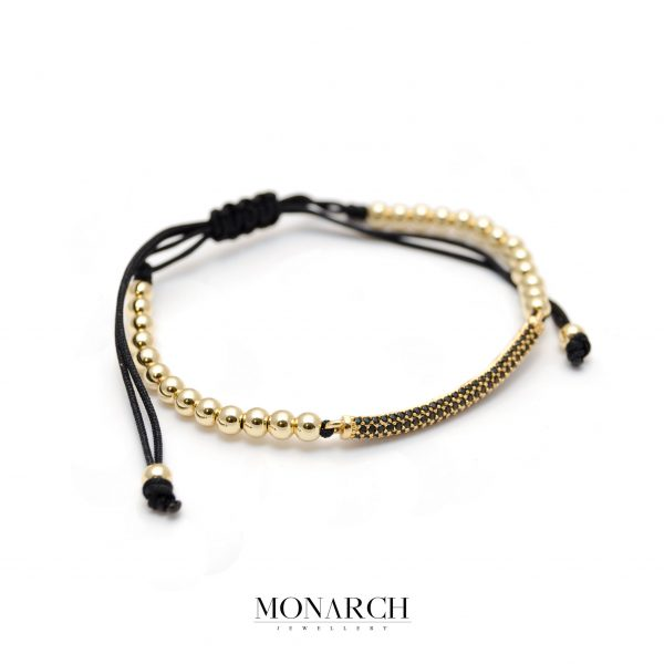 Monarch Jewellery 24K Gold Black Micro Pave Charm Macrame Bracelet