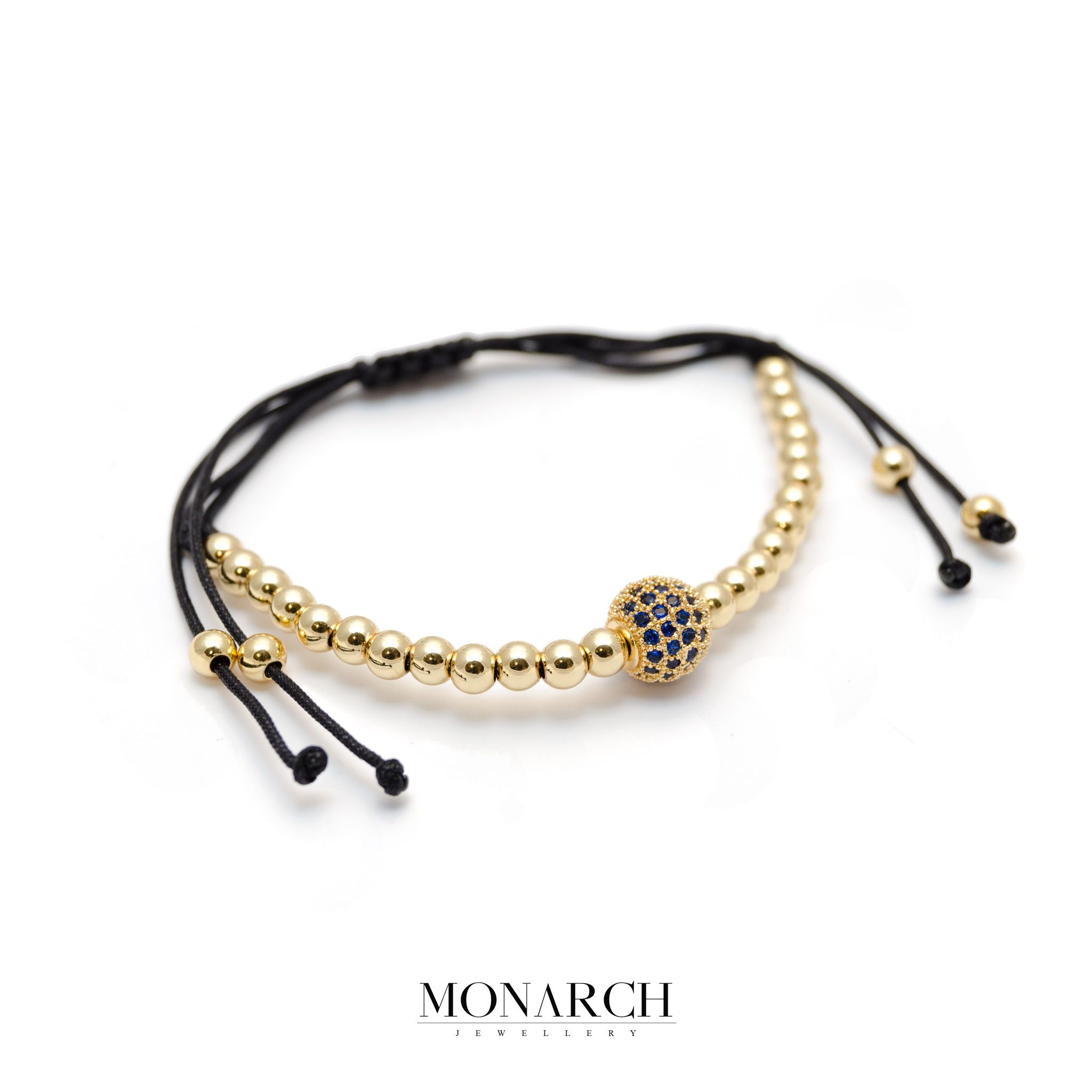 Monarch Jewellery 24K Gold Zircon Solo Bead Macrame Bracelet