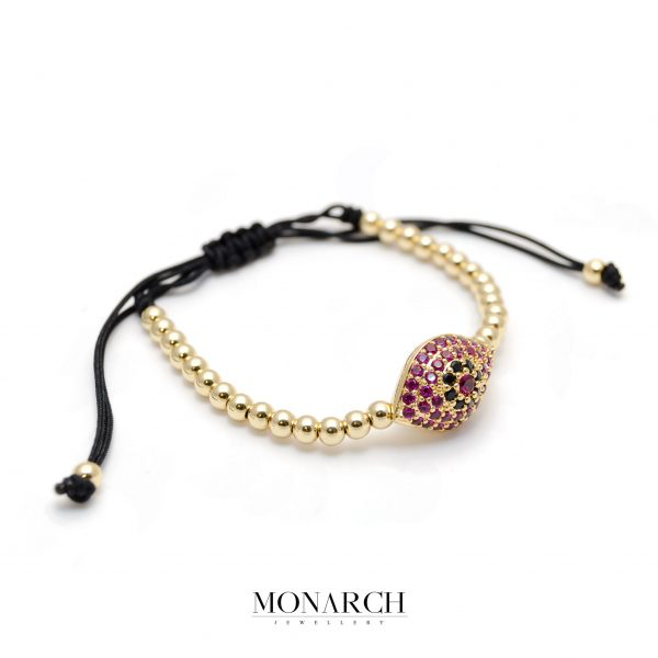 Monarch Jewellery 24k Gold Magenta Evil Eye Charm Macrame Bracelet