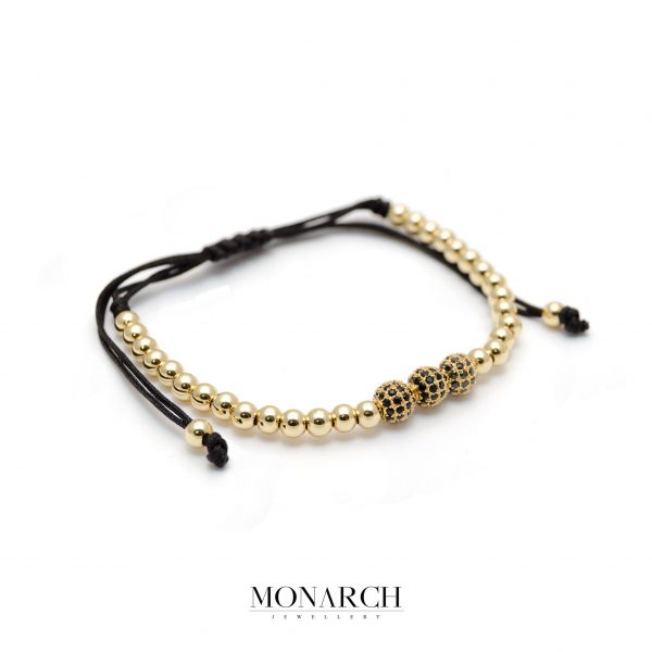 Monarch Jewellery 24K Gold Zircon Trio Bead Macrame Bracelet