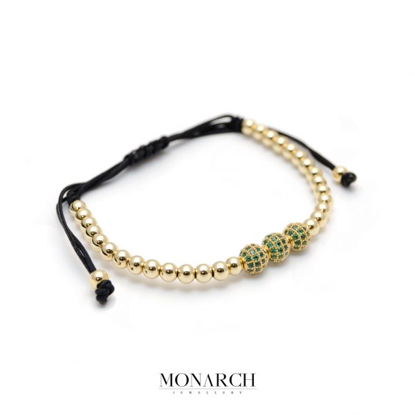 Monarch Jewellery 24K Gold Emerald Trio Bead Macrame Bracelet