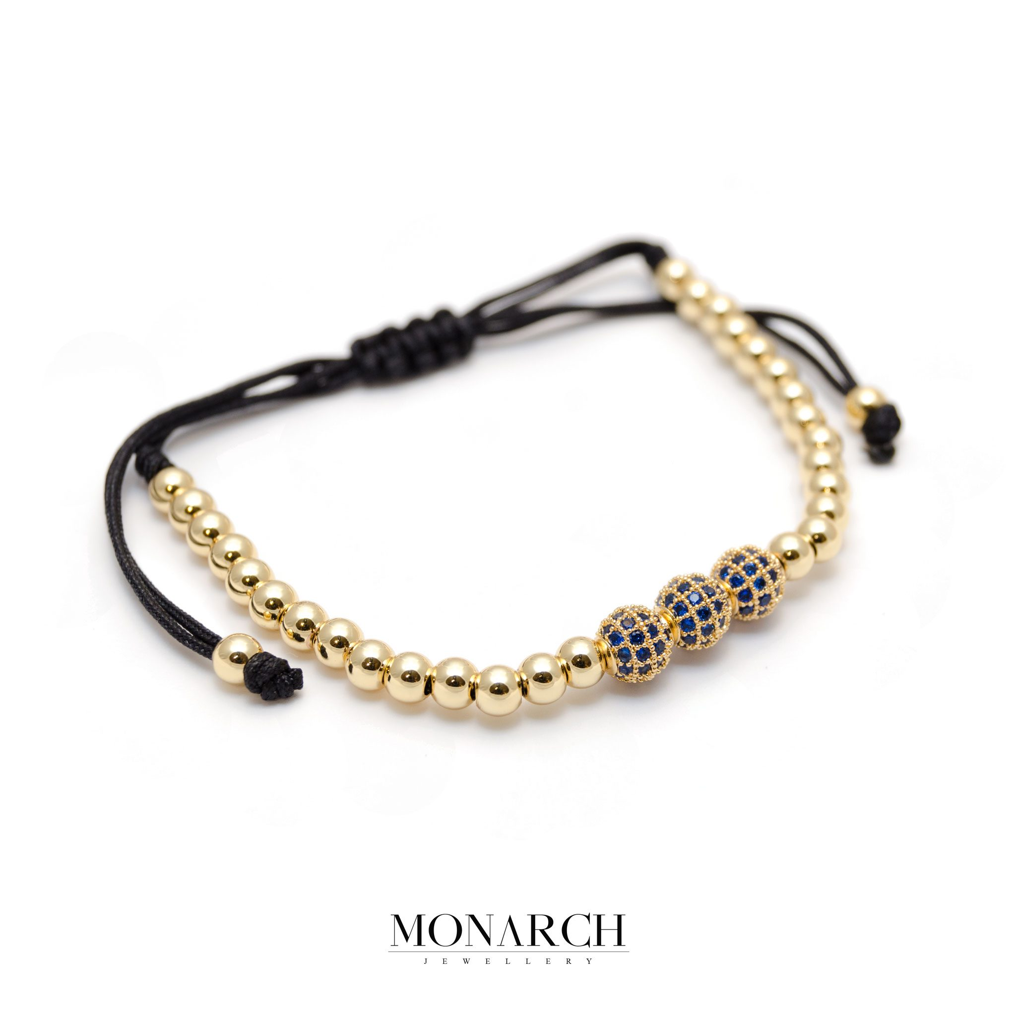 Monarch Jewellery 24K Gold Azur Trio Bead Macrame Bracelet