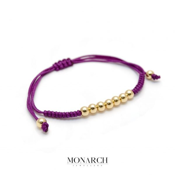 Monarch Jewellery 24k Gold Bead Magenta Macrame Bracelet