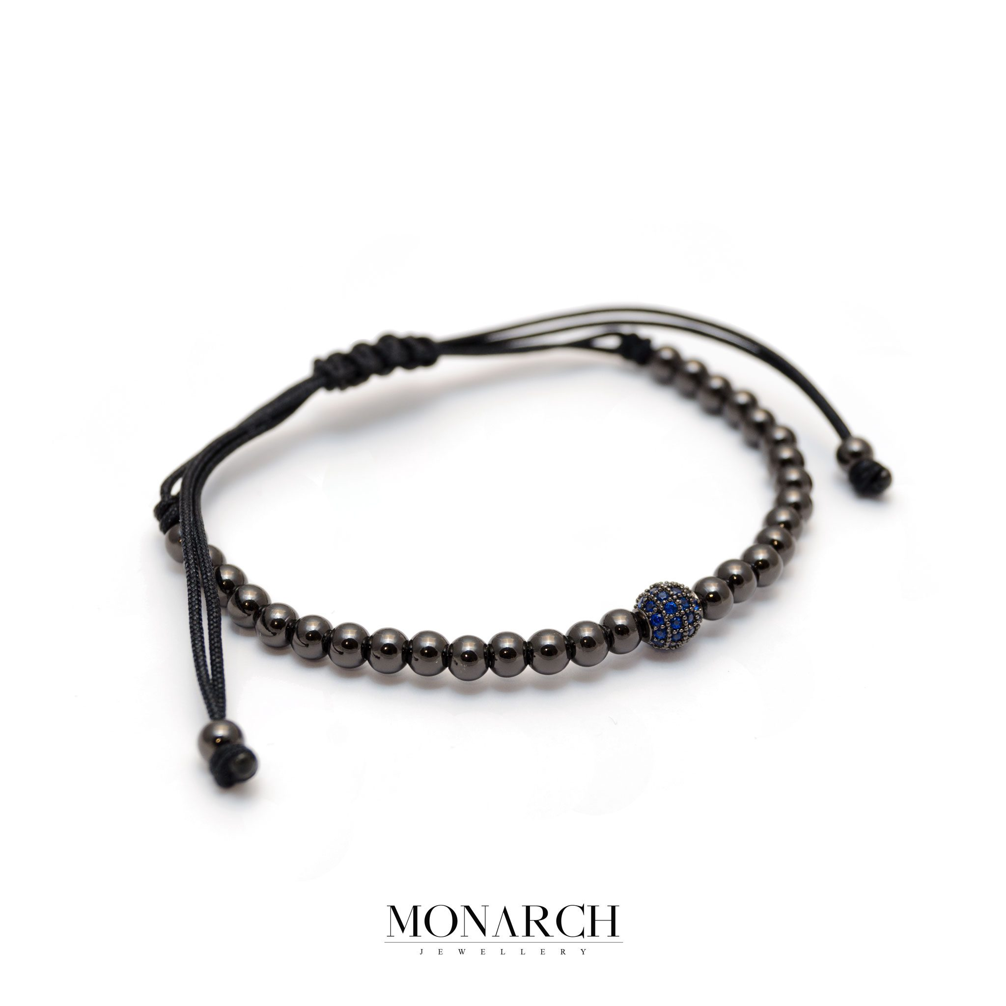 Monarch Jewellery Black Azur Uno Zircon Macrame Bracelet