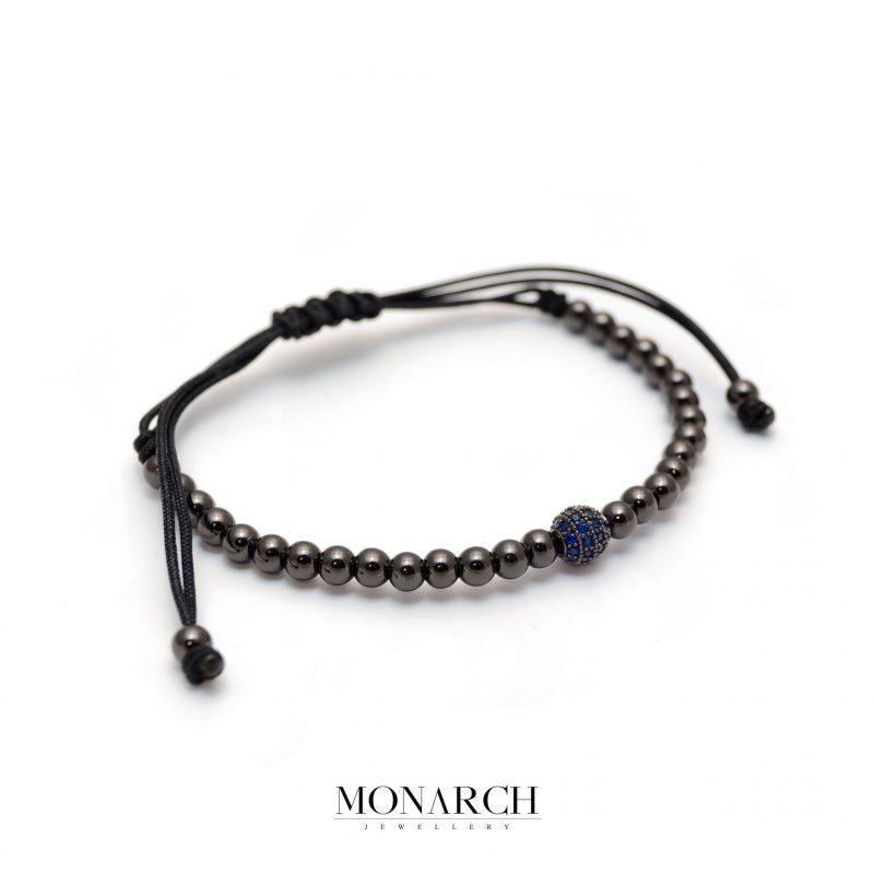 Monarch Jewellery Black Azur Uno Zircon Macrame Bracelet