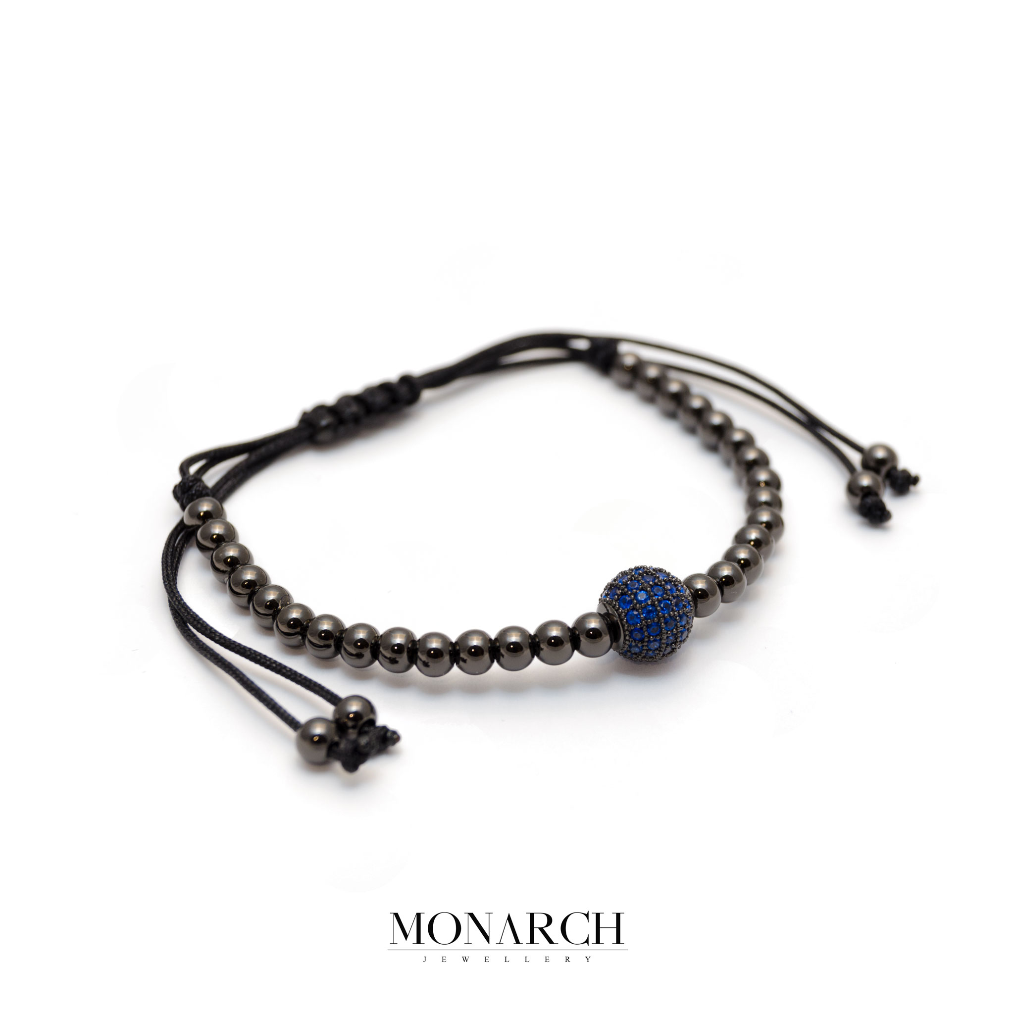 Monarch Jewellery Black Azur Solo Bead Macrame Bracelet