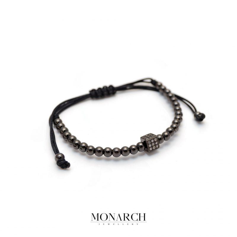Monarch Jewellery Black Cube Macrame Bracelet