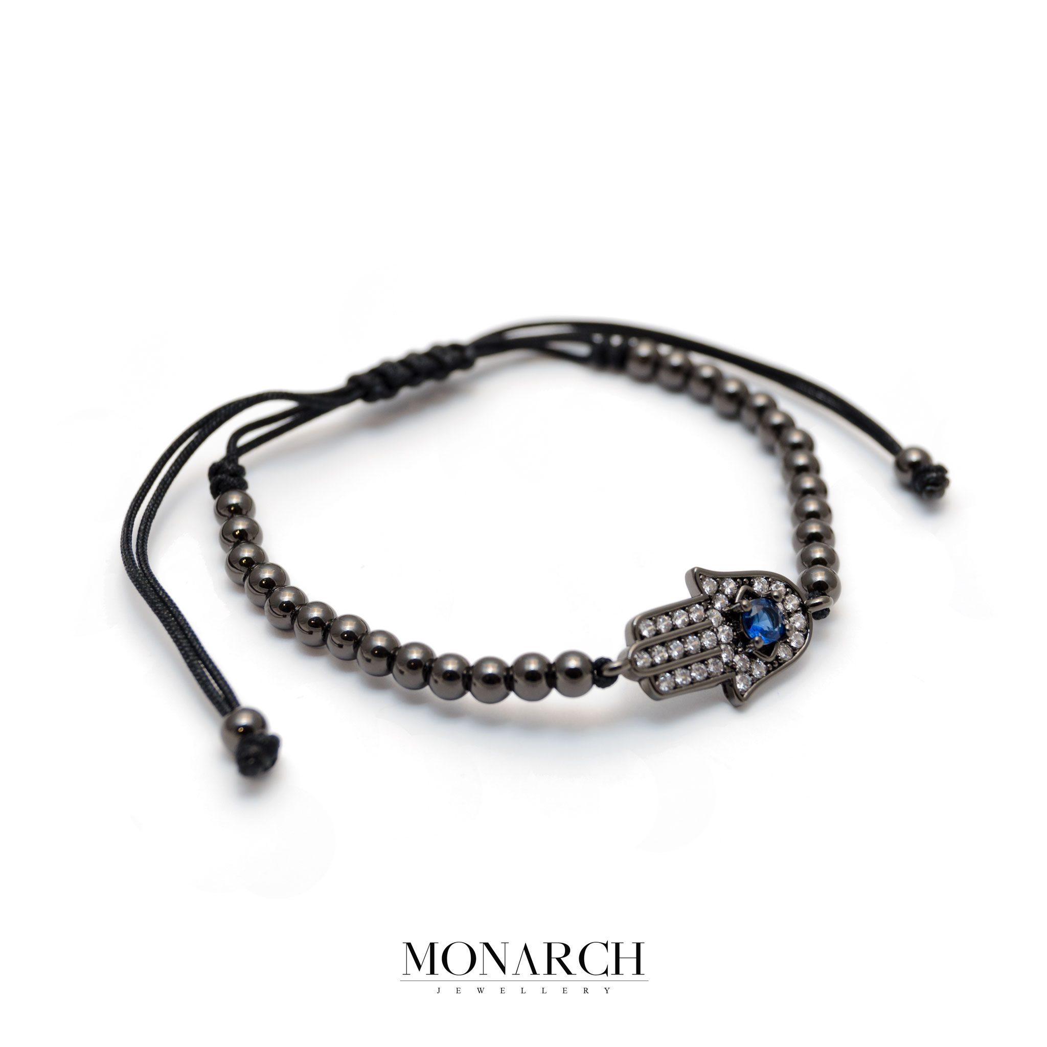 Monarch Jewellery Black Fatima Hand Charm Macrame Bracelet