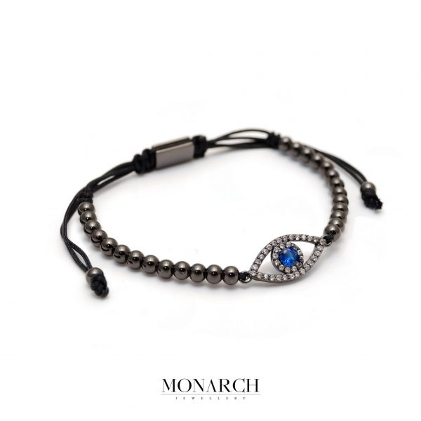 Monarch Jewellery Black Fatima Eye Charm Macrame Bracelet