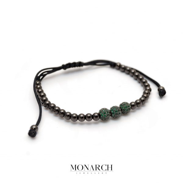 Monarch Jewellery Black Emerald Trio Bead Macrame Bracelet