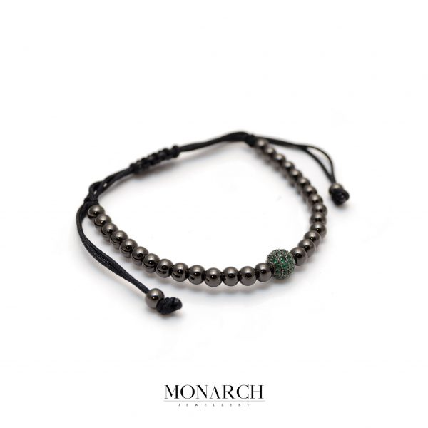 Monarch Jewellery Black Emerald Solo Zircon Macrame Bracelet