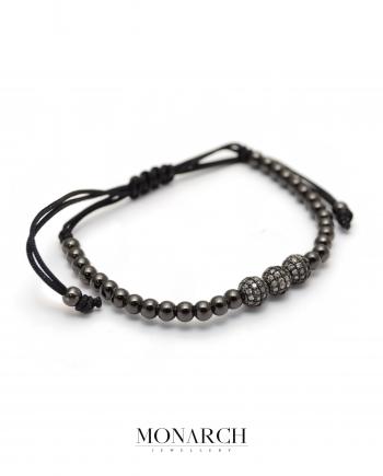 Monarch Jewellery Black Trio Bead Macrame Bracelet