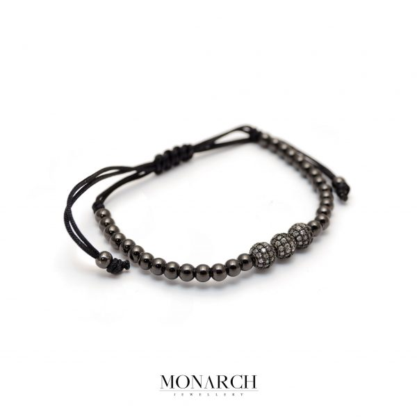 Monarch Jewellery Black Trio Bead Macrame Bracelet