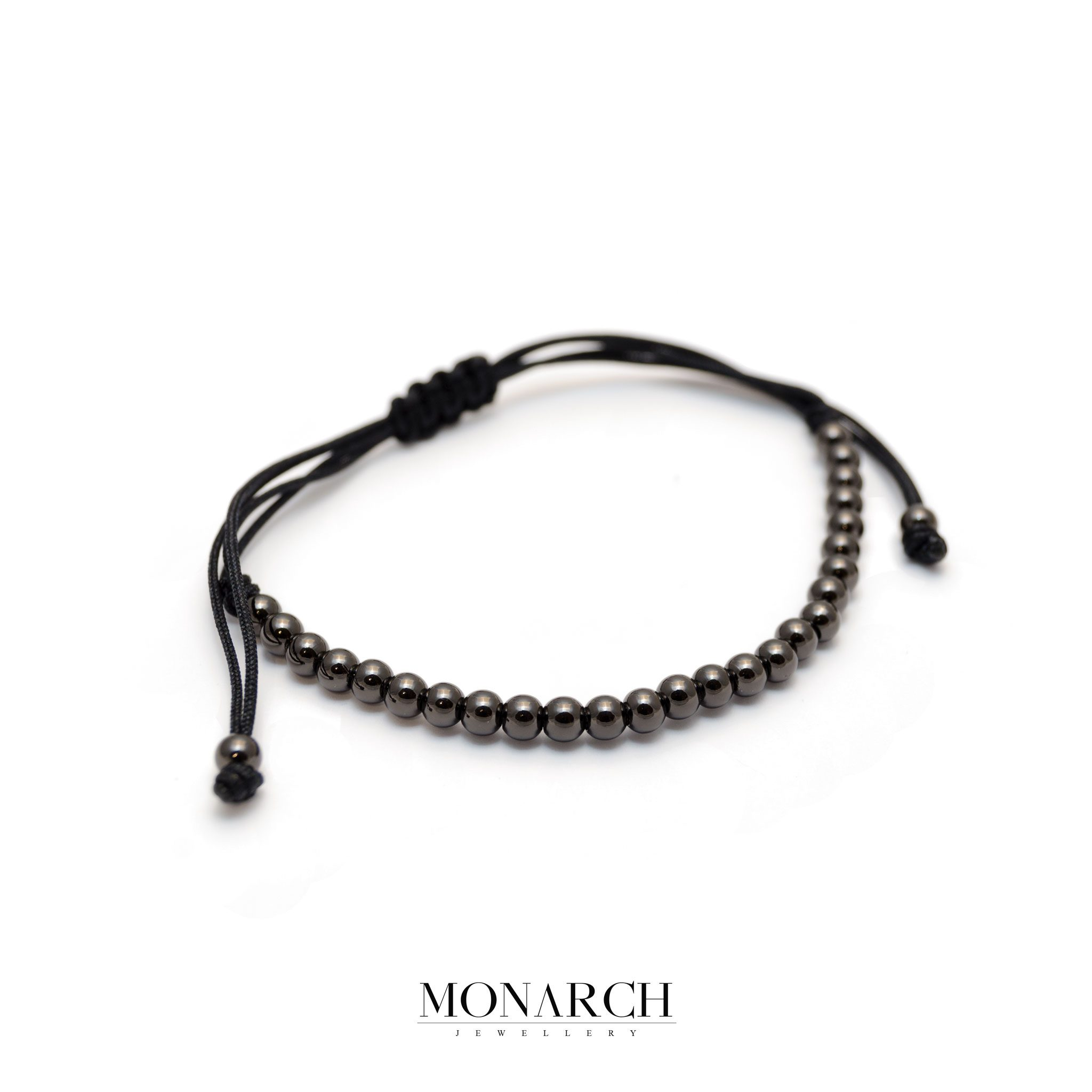 Monarch Jewellery Black Spectra Zircon Macrame Bracelet