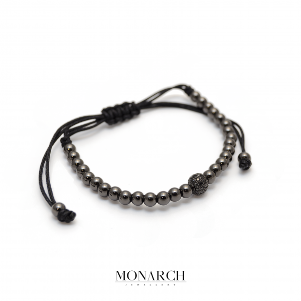 Monarch Jewellery Black Uno Zircon Macrame Bracelet