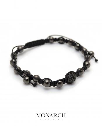 Monarch Jewellery Black Beads Macrame Bracelet