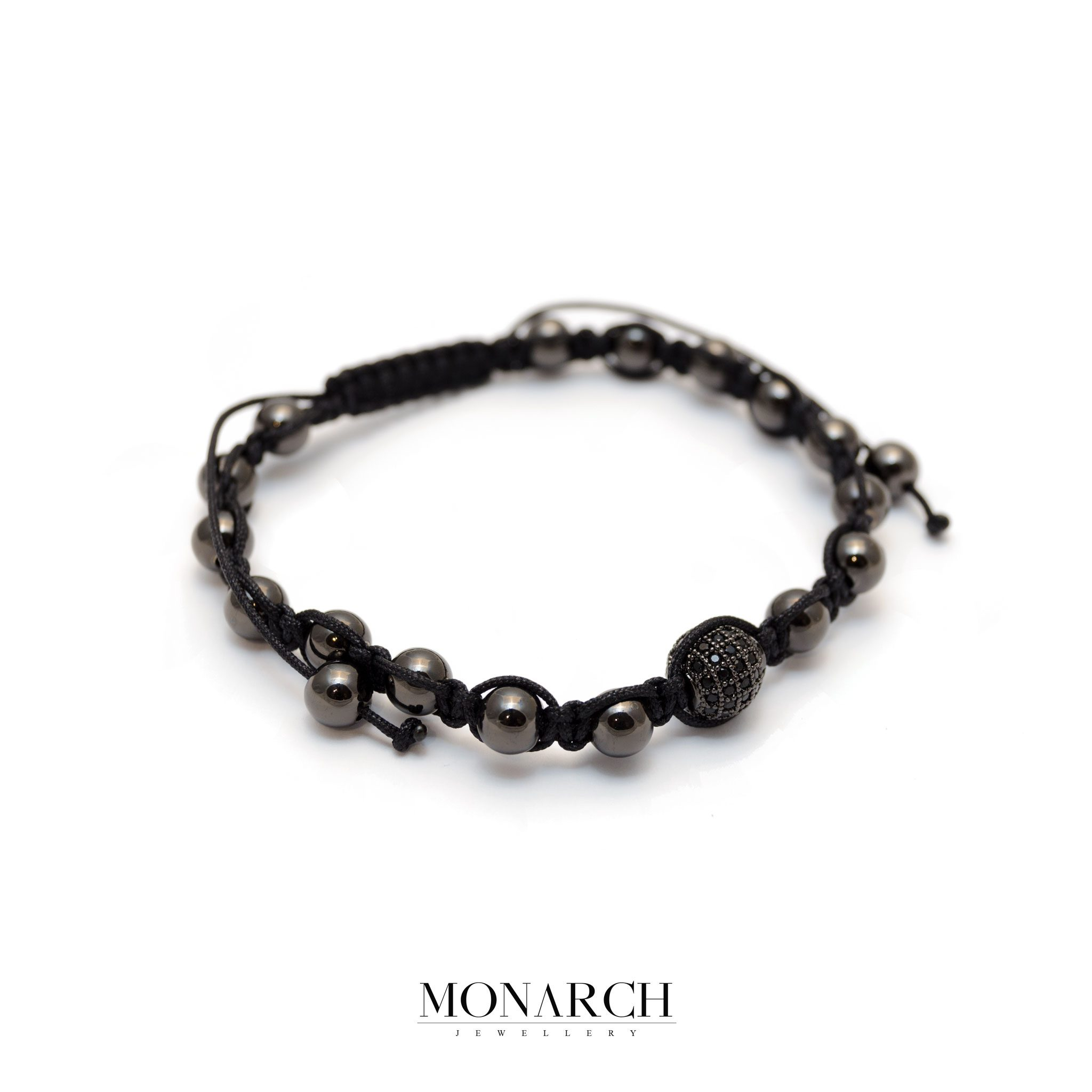 Monarch Jewellery Black Beads Macrame Bracelet