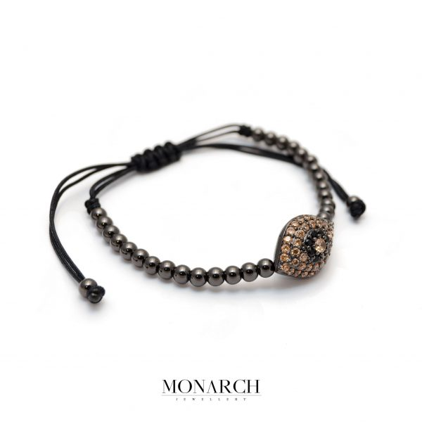 Monarch Jewellery Black Brown Evil Eye Charm Macrame Bracelet