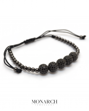 Monarch Jewellery Black Zircon Bead Macrame Bracelet