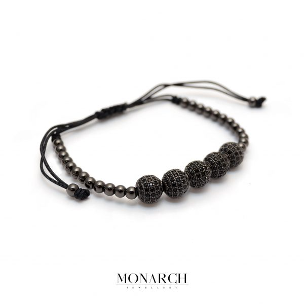 Monarch Jewellery Black Zircon Bead Macrame Bracelet