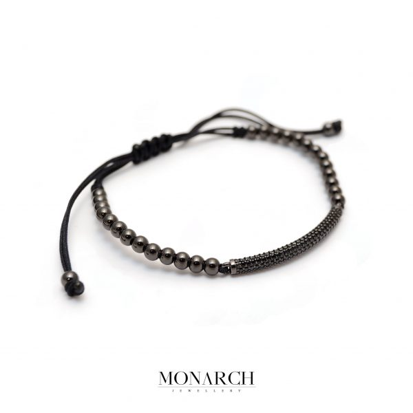 Monarch Jewellery Black Micro Pave Charm Macrame Bracelet