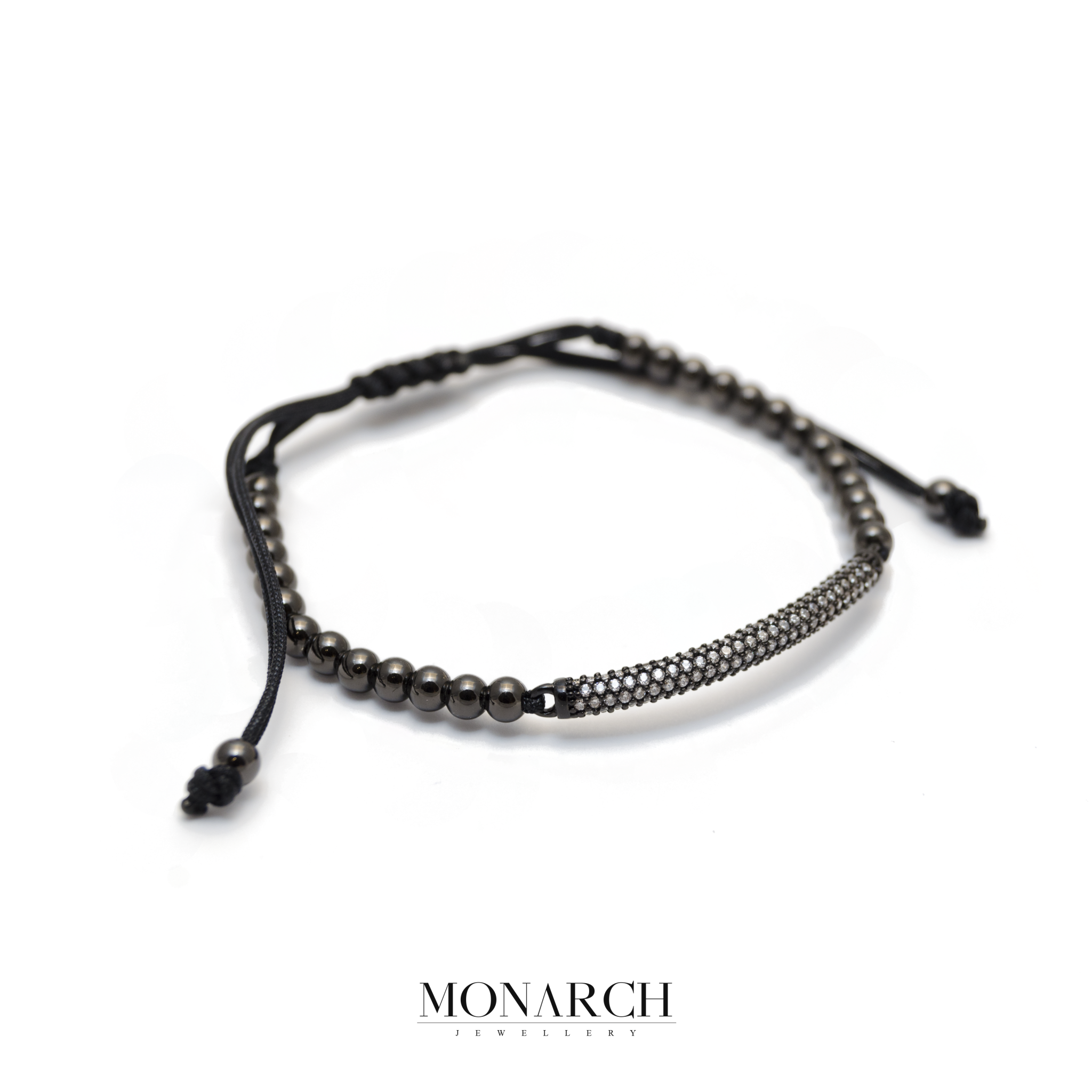 Monarch Jewellery Black White Micro Pave Charm Macrame Bracelet