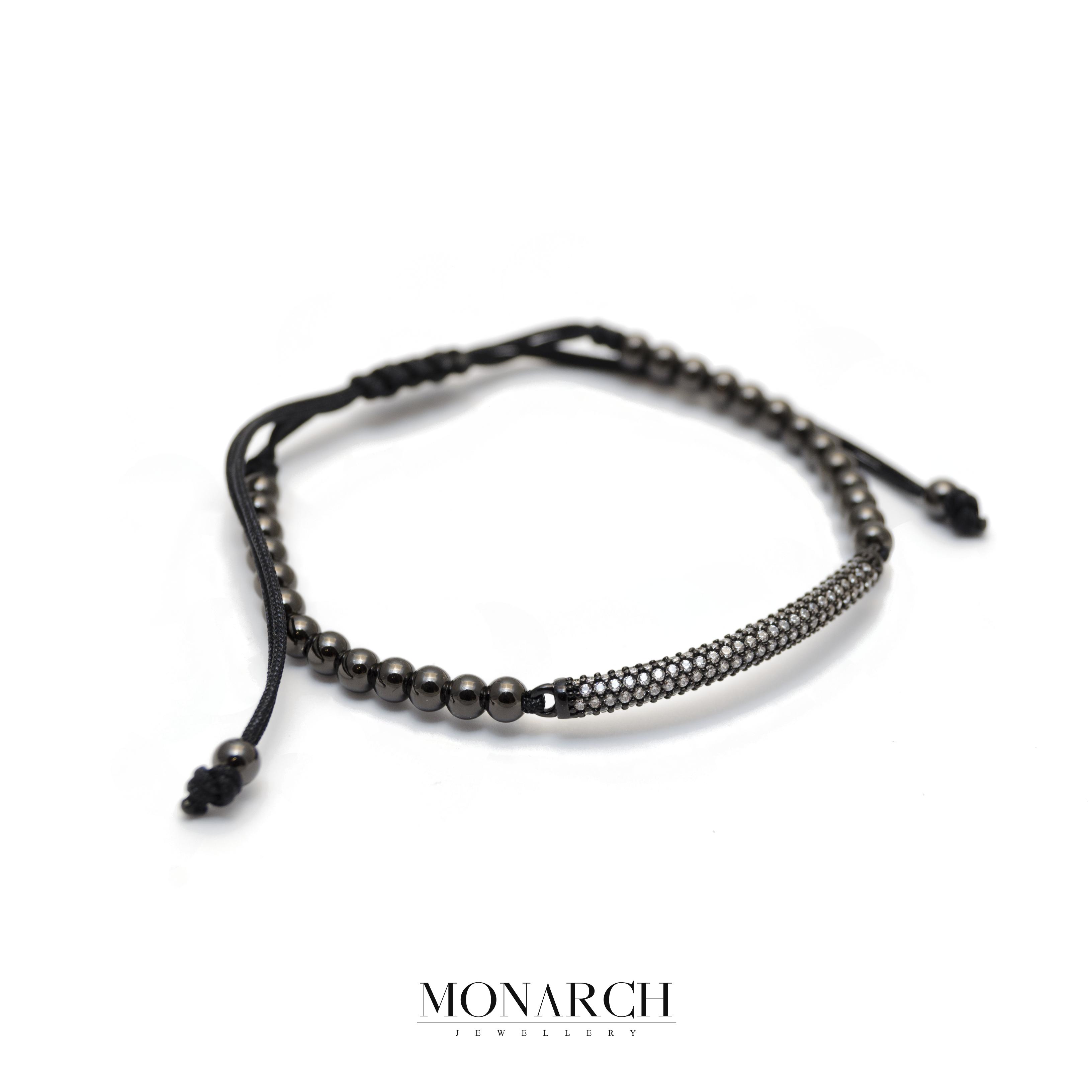 Monarch Jewellery Bratara Luxury Black White Micro Pave Charm