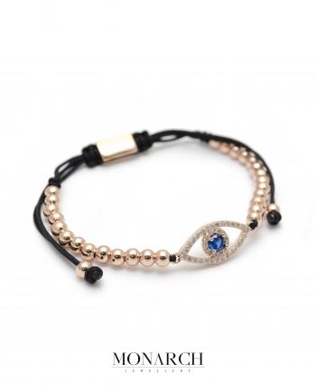Monarch Jewellery Gold Rose Fatima Eye Charm Macrame Bracelet