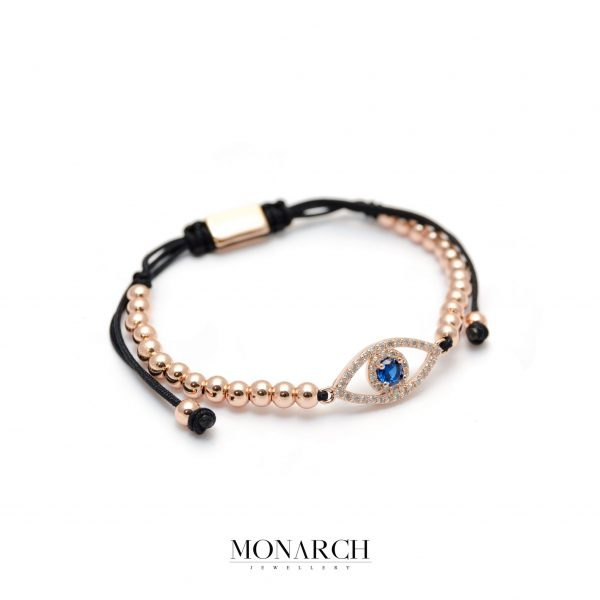 Monarch Jewellery Gold Rose Fatima Eye Charm Macrame Bracelet