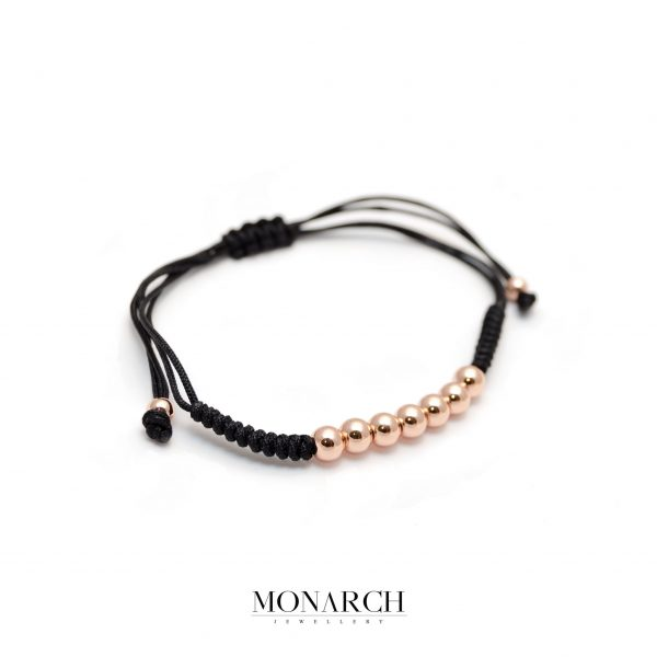 Monarch Jewellery Gold Rose Bead Macrame Bracelet