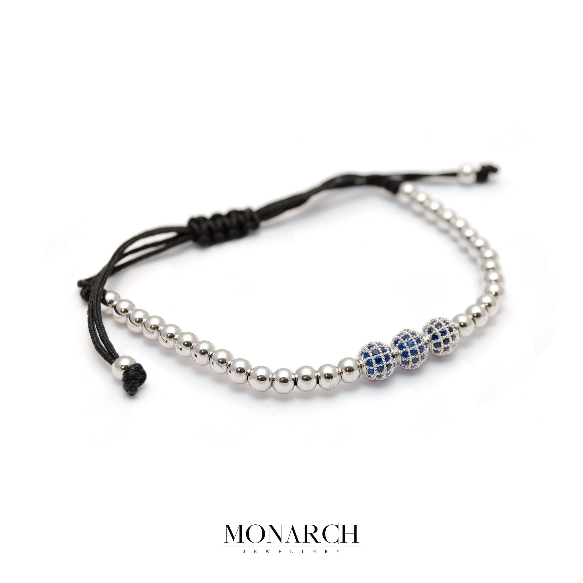 78-Monarch-Jewellery-Silver-Azur-Trio-Bead-Macrame-Bracelet-resized