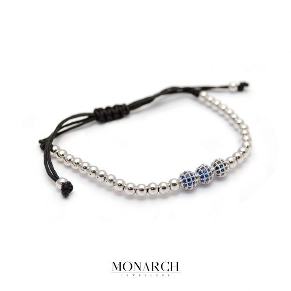 Monarch Jewellery Silver Azur Trio Bead Macrame Bracelet