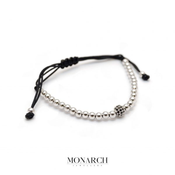 Monarch Jewellery Silver Uno Zircon Macrame Bracelet