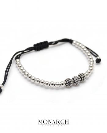 Monarch Jewellery Silver Trio Bead Macrame Bracelet