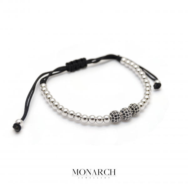Monarch Jewellery Silver Trio Bead Macrame Bracelet