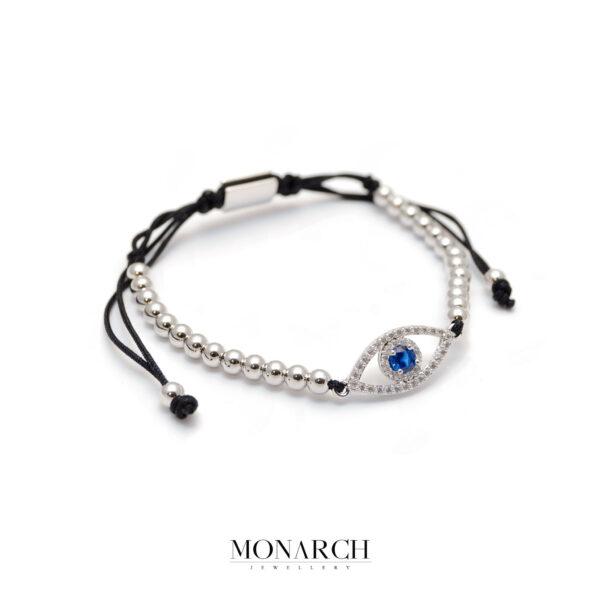 Monarch Jewellery Silver Fatima Eye Charm Macrame Bracelet