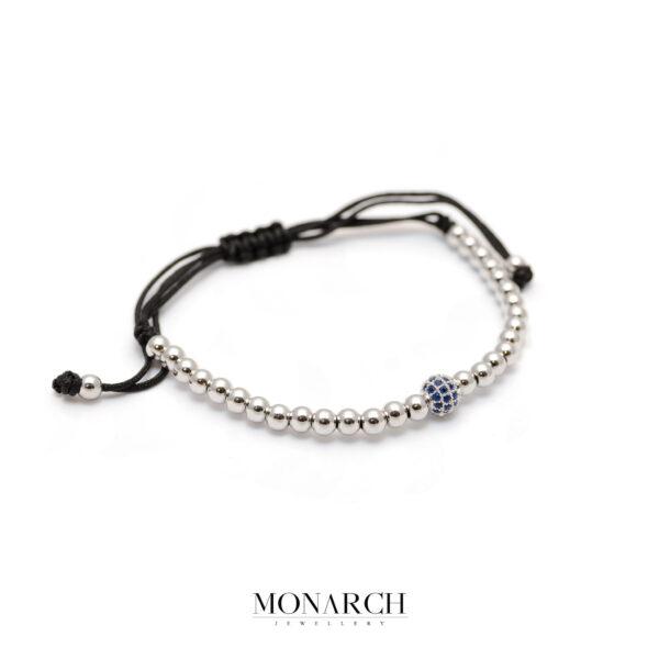 Monarch Jewellery Silver Azur Uno Zircon Macrame Bracelet