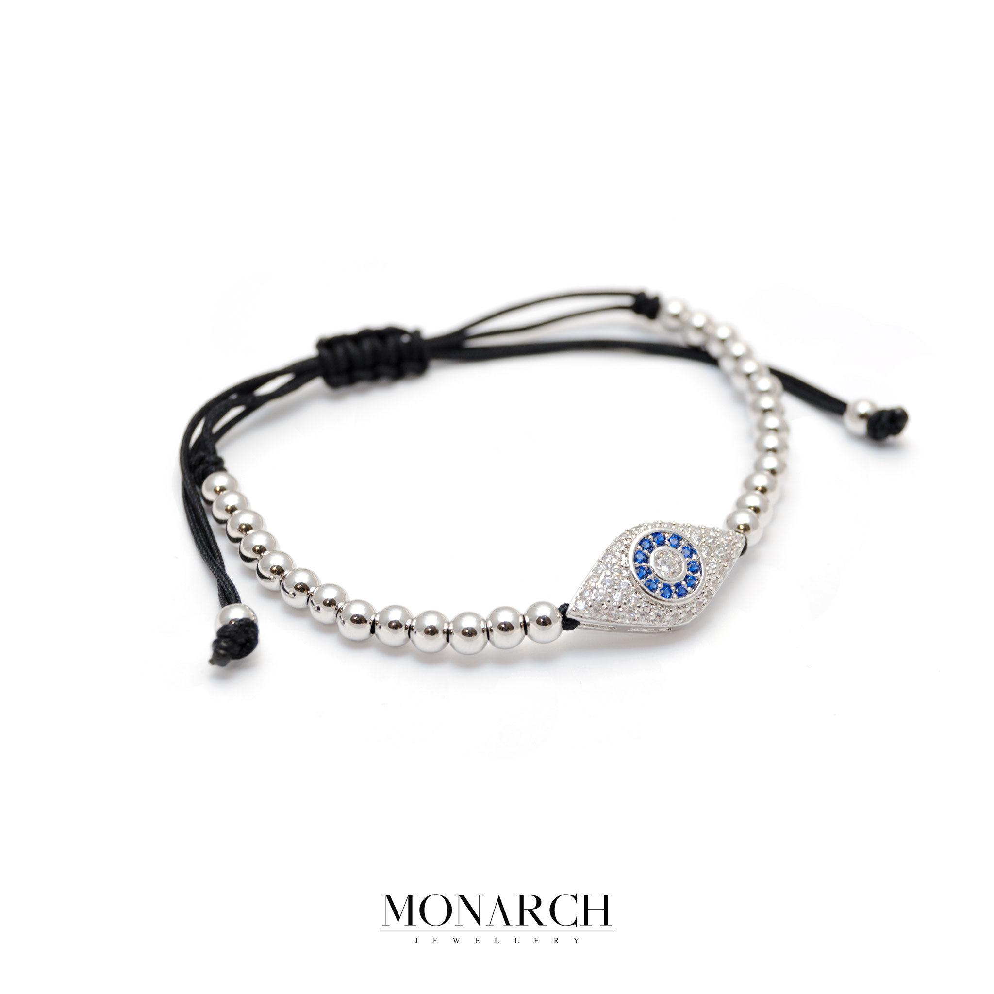Monarch Jewellery Silver Evil Eye Macrame Bracelet