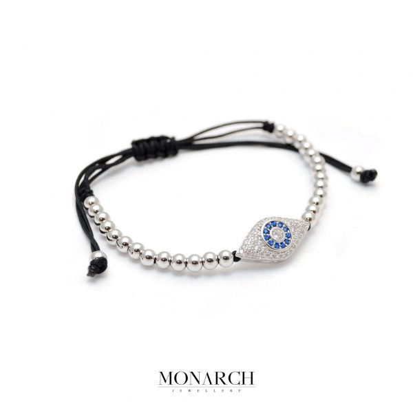 Monarch Jewellery Silver Evil Eye Macrame Bracelet