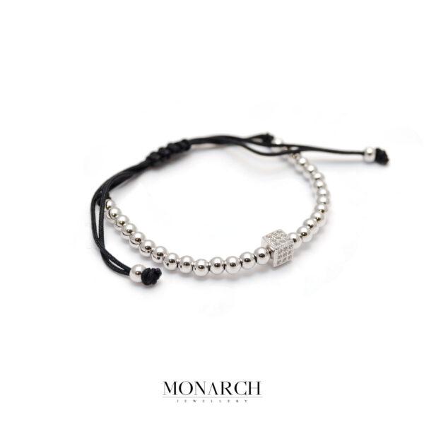 Monarch Jewellery Silver Cube Macrame Bracelet