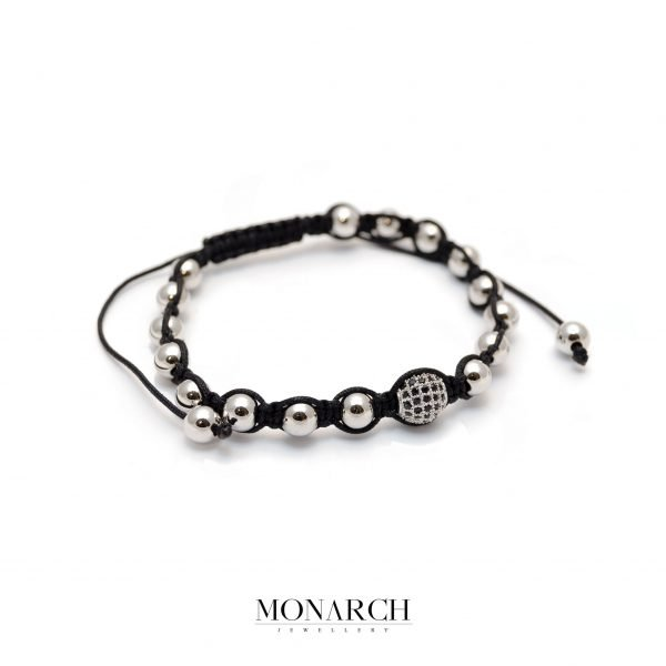 Monarch Jewellery Silver Beads Macrame Bracelet